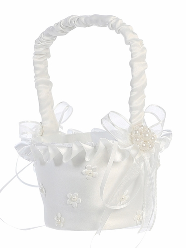 White Satin Trim w/ Pearled Satin Flowers Basket
