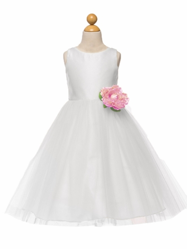 White Satin & Tulle Dress w/ Flower