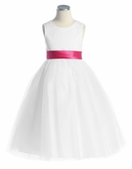 White Satin Tulle Dress w/ Removable Sash