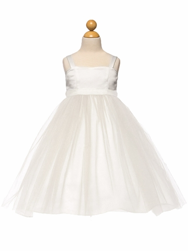 White Satin & Tulle Dress w/ Sash