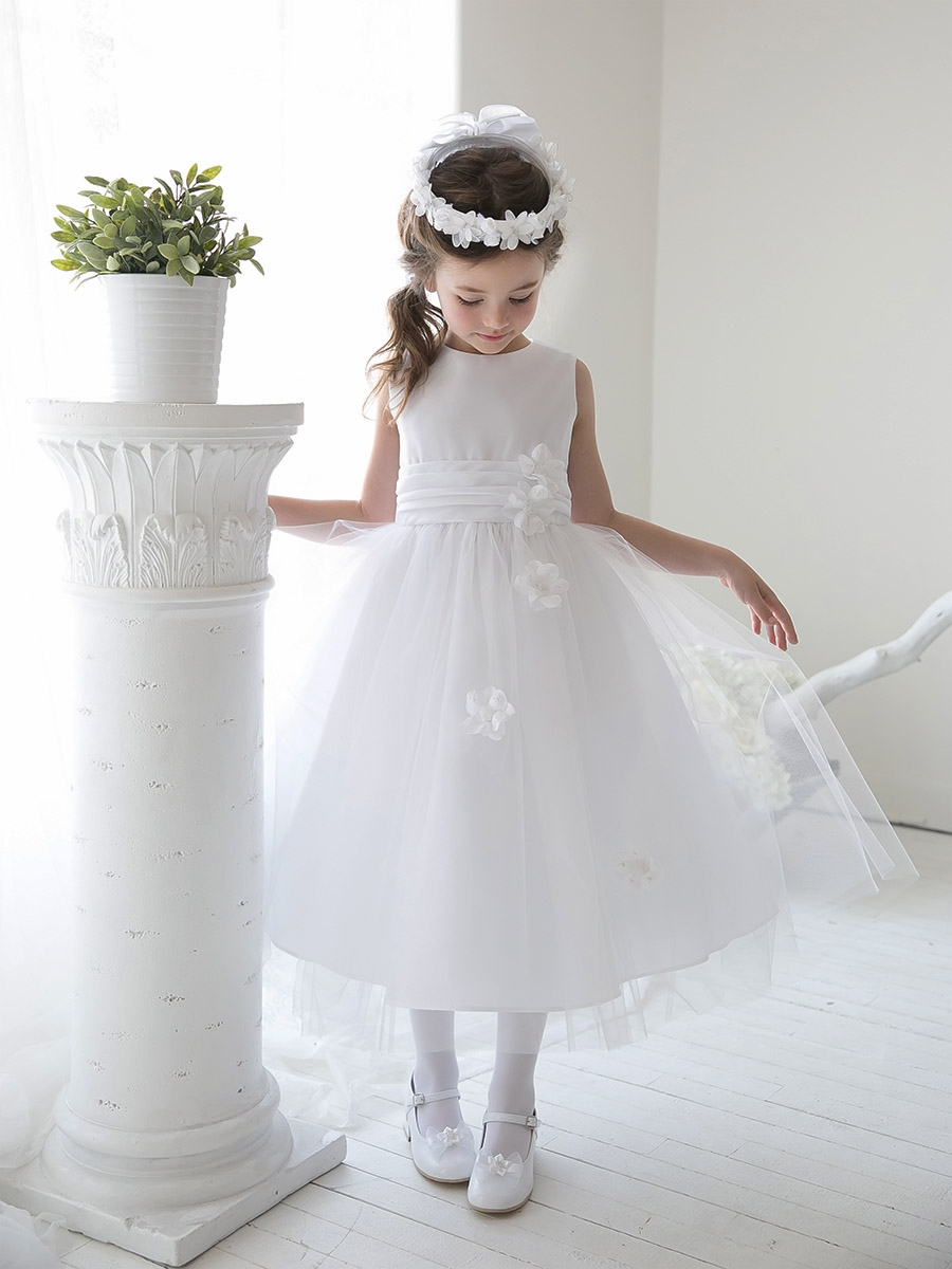 White Satin Tulle Dress W Sash Floating Flowers