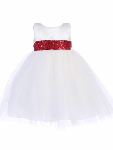 White Satin & Tulle Dress w/ Bow & Flower Satin Ribbon Sash