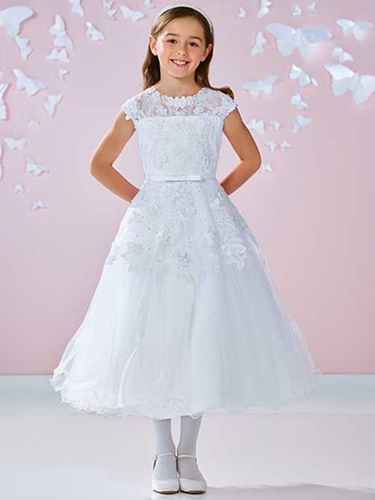White Satin Tulle & Lace Illusion Neckline Cap Sleeve Dress