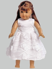 White Satin & Tulle w/ Chiffon Dress for 18� Doll