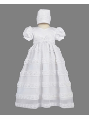 White Satin w/ Embroidered Chiffon on Tulle Christening Dress