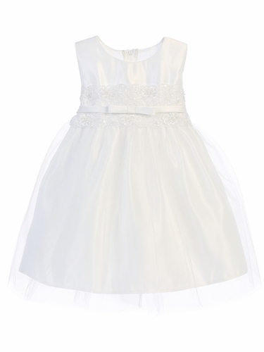 White Satin w/ Lace Waistband Dress