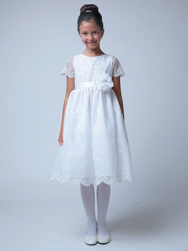 White Scallop Lace Sleeve Dress w/ Flower