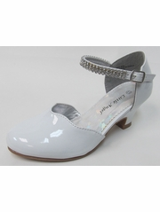 White Scalloped Low Heel Girls Dress Shoe w/ Rhinestone Strap