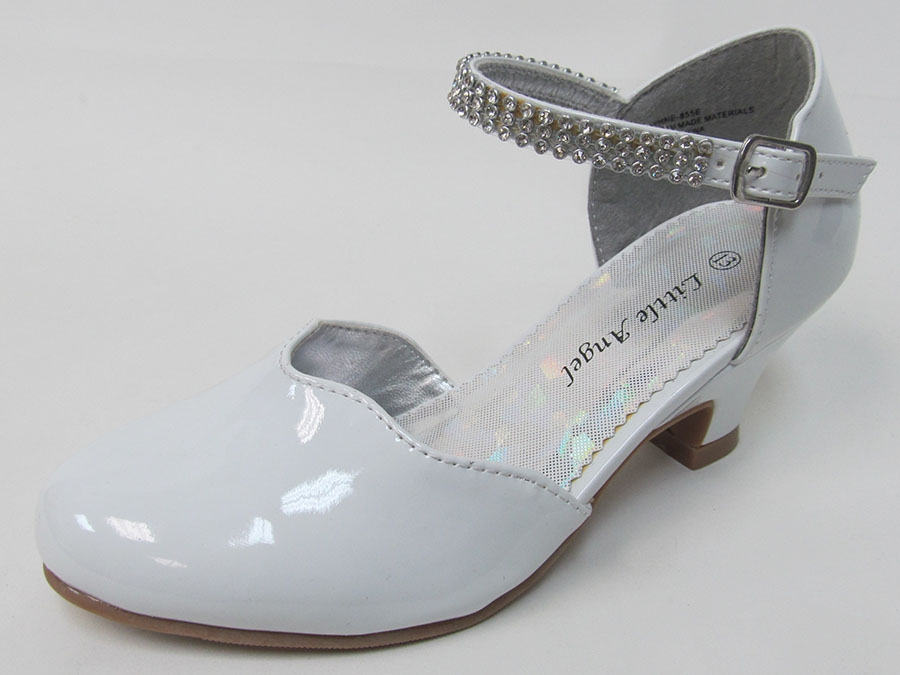 753e4514265b42 ... White Scalloped Low Heel Girls Dress Shoe w/ Rhinestone Strap. Click to  Enlarge
