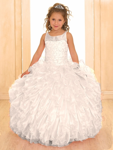White Scoop Neck Organza Ruffle Dress
