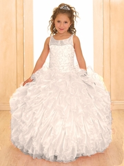 CLEARANCE - White Scoop Neck Organza Ruffle Dress