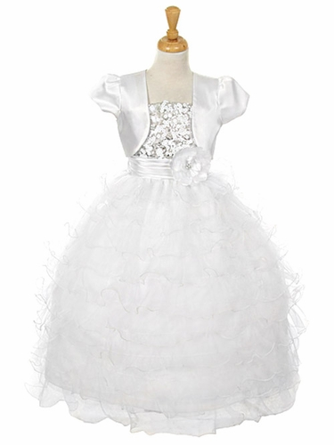 White Sequin Bodice Ruffle Dress w/ Matching Bolero