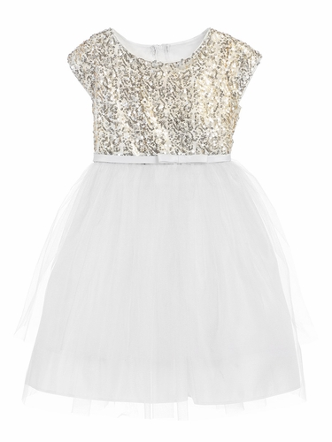 White 2 Tier Tulle Dress w/ Sequin Top