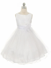 White Sequined Bodice w/ Double Layered Mesh Dress