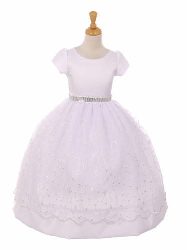 White Sequins Organza Overlay Satin Communion Dress