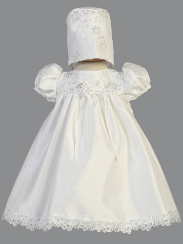 White Shantung Christening Dress w/ Embroidered Tulle & Sequins