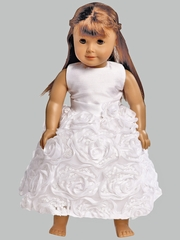 White Shantung & Tulle w/ Ribbon Roses Dress for 18� Doll