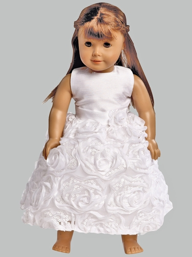 "White Shantung & Tulle w/ Ribbon Roses Dress for 18"" Doll"