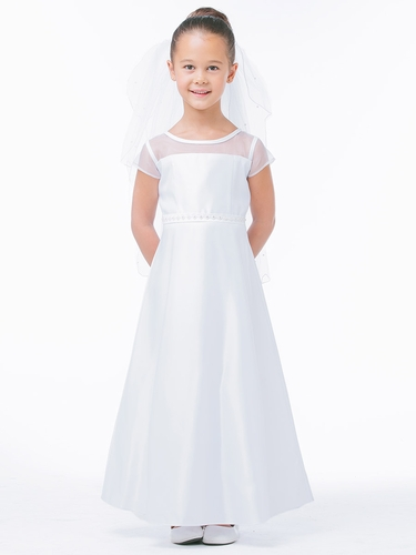 White Sheer Yoke Satin A-Line Dress