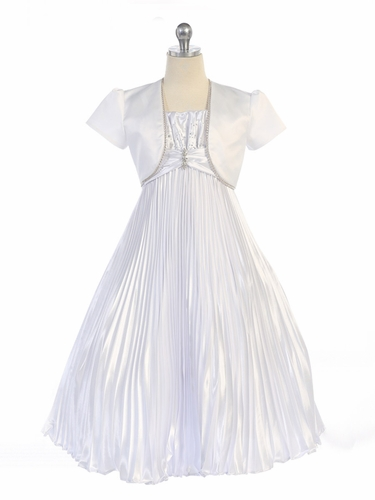 White Shiny Satin Pleated Long Dress