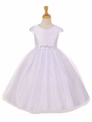 White Shiny Tulle Dull Satin Rhinestone Dress