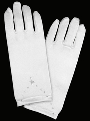 White Short Satin Gloves w/ Rhinestone Cross Accent