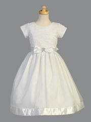 Swea Pea & Lilli SP153 White Short Sleeve Embroidered Tulle w/ Sequins & Organza Skirt