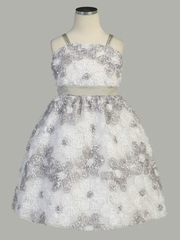 White/ Silver Daisy Ribbon Novelty Spaghetti Strap Dress