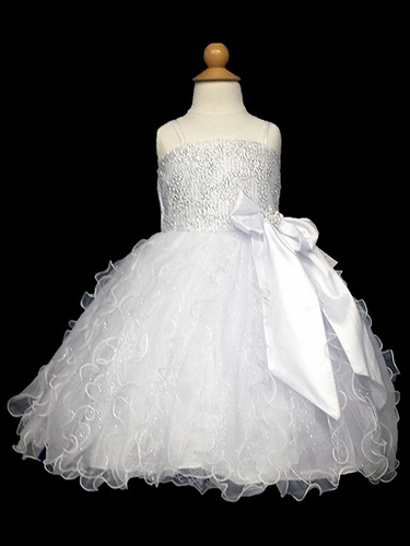 White & Silver Floral Bodice w/ Glitter Vertical Ruffles Dress