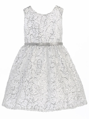 CLEARANCE - White & Silver Metallic Chord Embroidered Dress w/ Belt