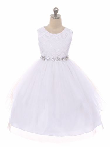 Good Girl 3573 White Sleeveless Lace Contrast Double Tulle Dress w/ Bejeweled Waist