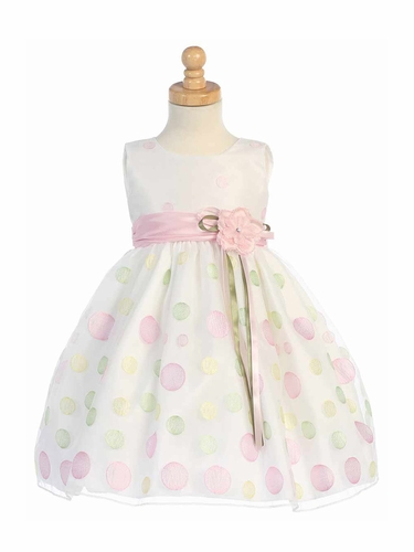 White Sleeveless Organza Dress w/ Polka Dot Embroidery & Pink Sash