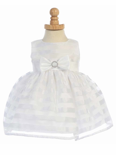 White Sleeveless Striped Organza Dress