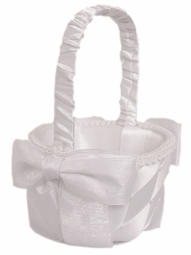 White Small Criss-Cross Flower Girl Basket