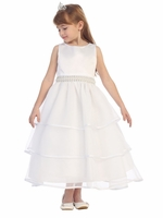 White Special Organza Tea Length Dress w/ Pearly Band