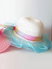 White Straw Hat w/ 2 Tone Blue Trim & Rainbow Ribbon