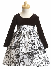 White Stretched Velvet Bodice Dress w/ Flocked Taffeta Skirt