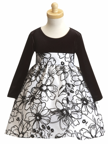 White Flower Girl Dress - Stretched Velvet Bodice w/ Flocked Taffeta Skirt