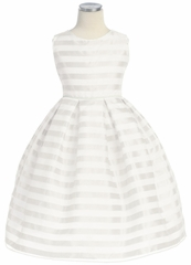 White Stripe Organza Box Pleat Dress