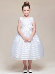 White Stripe Organza Dress w/ Sash & Flower