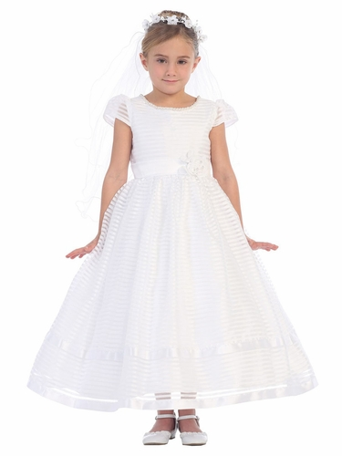 White Striped Cap Sleeve Communion Dress