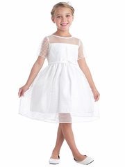 White Striped Metallic Organza Dress