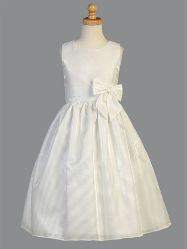 White Striped Organza Communion Dress w/ Satin Waist Trim & Bow