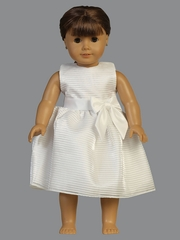 "White Striped Organza w/ Satin Waist Trim & Bow 18"" Doll Dress"
