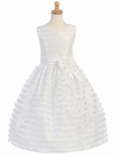 White Striped Organza w/ Taffeta Waistband & Bow Accent