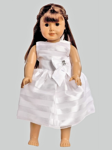 White Striped Organza w/ Taffeta Waistband & Bow Accent Dress for 18'' Doll
