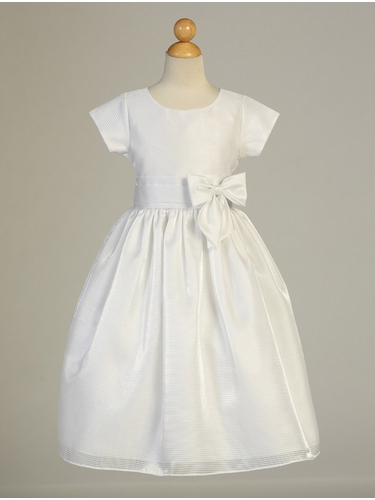 White Striped Sleeved Organza Communion Dress w/ Satin Waist Trim & Bow