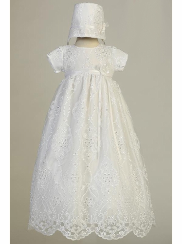 Swea Pea & Lilli Bonnie White Embroidered Tulle Long Gown w/ Sequins