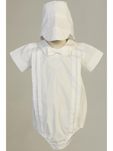 White Swea Pea & Lilli Brandon Cotton Romper w/ Embroidered Celtic Cross & Hat