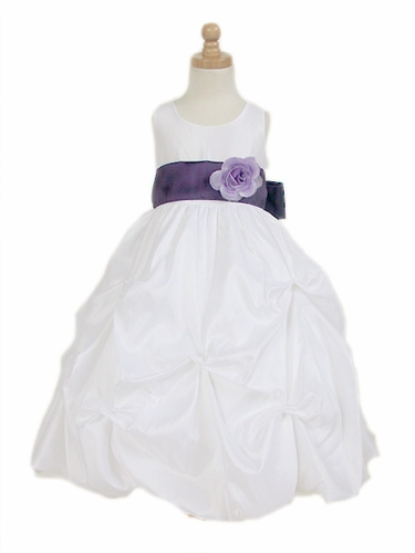 5a486f7127a White Taffeta Bubble Pick-up Flower Girl Dress
